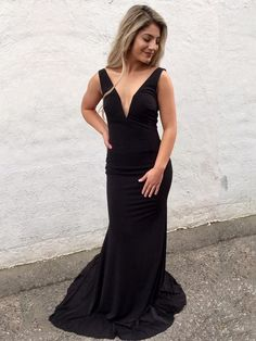 Simple Prom Dresses, simply v neck black mermaid long prom dress prom dresses evening dress prom gowns formal women dress prom dress LBridal Pageant Dresses For Teens, 2 Piece Homecoming Dresses, Elegant Bridesmaid Dresses, Prom Dress Stores, Long Prom Gowns, Black Prom Dresses, Formal Dresses For Women, Prom Party Dresses, Evening Dresses