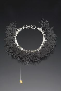 Sarah Hood - Tree Ruff | plastic model railroad trees, fabricated sterling silver tube-settings with silver rivets. ..
