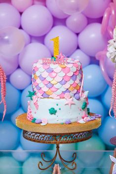 Feast your eyes on this gorgeous under the sea tiered birthday party with a top . Neon Birthday, 1st Birthday Party For Girls, Birthday Cake, 7th Birthday, Birthday Ideas, Neon Cakes, Pastel Cakes, Cake Pop Decorating, Party Ideas