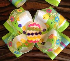 Easter boutique stacked hair bow with clay by CreationsbyColia, $6.00