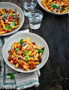 Penne Alla Norma Recipe Check out this easy gluten free tomato pasta with aubergine topped with fresh basil. This simple recipe is veggie friendly and low in calories
