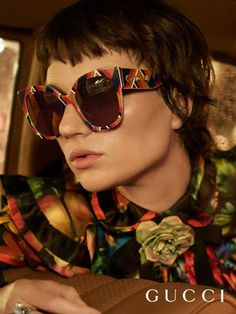 A chevron pattern details new Gucci Spring Summer 2017 sunglasses featured in the new Eyewear campaign.