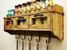 This hanging kitchen wall shelf brings a fantastic retro feel to your home or cafe. Perfect as a spice rack for your kitchen or coat hanger at the front door. Hanging Spice Rack, Kitchen Spice Racks, Kitchen Wall Shelves, Coat Hanger, Rustic Industrial, Houzz, Liquor Cabinet, Temple, House Ideas