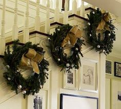 Unfortunately I do not have an open staircase for this beautiful idea. Instead I will use 3M hangers & slowly stagger down the wall above the stair railing & hang wreaths!!!. Great idea & inspiration!!!.