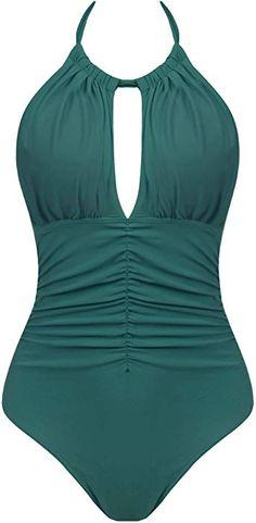 4ec77ed3ad0 Joyaria Womens Halter Ruched One Piece Swimsuit Tummy Control Slimming Bathing  Suit Monokini Swimwear (Green