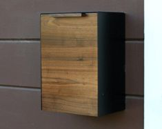 Modern Mailbox Large Teak and Stainless Steel Wall by CeCeWorks