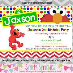 Chevron Elmo Birthday Invitation – Simply Sprinkled