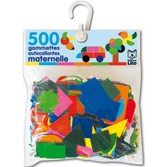 Une pochette de 500 gommettes autocollantes de toutes les formes et de toutes les couleurs pour créer de jolis dessins tout en s'amusant.