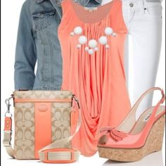 Stylish Outfit Coral With White Pant And Jeans Jacket. One of the few times I would willingly wear white jeans. Fashion Mode, Look Fashion, Womens Fashion, Fashion Trends, Fashion Ideas, Feminine Fashion, Budget Fashion, Feminine Style, Modern Fashion