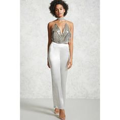 Forever21 Metallic Palazzo Pants ($23) ❤ liked on Polyvore featuring pants, champagne, palazzo trousers, off white pants, forever 21, palazzo pants and metallic trousers