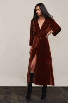 Hubba hubba. The Catrall Dress is just a straight up stunner and that's exactly how you'll feel when you wear it. It's all the fancy without sacrificing the comfort. This is a full length stretch velvet gown with a plunging wrap neckline, elastic waist and front slit. https://www.thereformation.com/products/catrall-dress-karen?utm_source=pinterest&utm_medium=organic&utm_campaign=PinterestOwnedPins