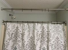 no sew shower curtain valance in no time, bathroom ideas, home decor, window treatments, Second Tension Rod
