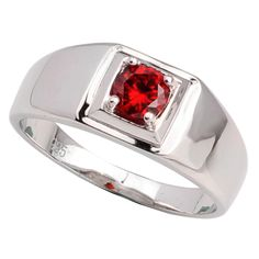 925 Sterling Silver Men Ring Jewelry Pure Band Garnet Red Cubic Zirconia Anilla Plata Size 10 11 12 13 R503