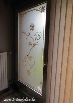 Raamfolie motief klassiek. Window film privacy glass etched . Flowers