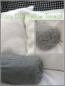 The Red Chair Blog: Easy DIY No Sew Pillow Tutorial - The DIY 5 Minute, No Sew, No Glue, No Batting, No Stuffing, No Ribbons, No-Talent-Required Neck Roll Pillow ... http://theredchairblog.blogspot.com/2009/09/easy-diy-no-sew-pillow-tutorial.html?m=1#
