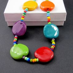Bright bold multicolored necklace Kazuri Africa clay seed bead  | Thesingingbeader - Jewelry on ArtFire
