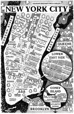 Mark Edward Geyer - Map of New York City (from The Inquisitor's Apprentice by Chris Moriarty) New York City Map, City Maps, Ny Map, Gravure Illustration, City Illustration, Harlem New York, A New York Minute, Rhapsody In Blue, Urban Design