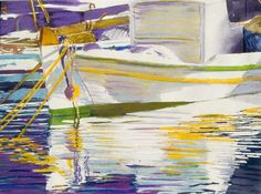 """barca paros  (1)  16"""" x 22""""  micheal zarowsky  pastel and watercolour on arches paper / available"""