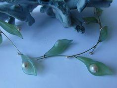 Necklace, gold, jade flowers and pearls. Handmade by dutch goldsmith Yael Haller. #dutch design jewelry