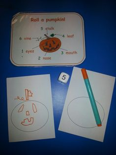 Roll a pumpkin game; like a beetle drive! Roll the dice and add the correct item to your pumpkin shape. Who will draw their pumpkin first? The outline of the pumpkin is already there, so no waiting around to get going in this game! Lots of turn taking, fine motor skills, number recognition, following instructions, word recognition and fun! This game is very popular! LG☆