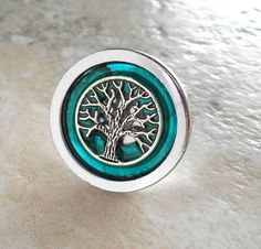 drawer pull: teal  cabinet knob  cabinet pull  by NatureWithYou