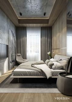 Ceiling, large artwork, padded headboard. Consider having the artwork mounted on sliding hardware to allow it to cover an inset big screen when not in use. Residence in Tbilisi by Yodezeen Designs   HomeAdore