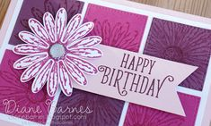 handmade daisy birthday card using Stampin Up Daisy Delight stamp set, daisy punch & Stitched Shapes dies. Card by Di Barnes #colourmehappy 2017-18 Annual Catalogue