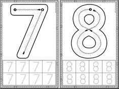 Preschool Number Worksheets, Preschool Writing, Numbers Preschool, Preschool Learning Activities, Learning Numbers, Preschool Printables, Preschool Lessons, Kindergarten Worksheets, Kids Learning