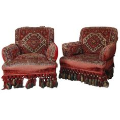Pair Napoleon III Armchairs With Tapestry Fabric