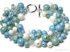 Turquoise Jade Ivory Swarovski Pearl by whimsydaisydesigns on Etsy, $48.00