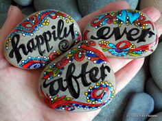 happily ever after / anniversary / wedding / painted rocks / painted stones / rocks / words in stone / unique gifts / valentines / love by LoveFromCapeCod on Etsy