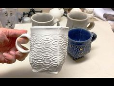 Creating a Round Slab Cup with a Darted Squared Base From a Textured Slab with a Focal Accent. This video was originally made to help my Ceramics II students on their Textured Slab Set with Focal Accent Project. Hand Built Pottery, Slab Pottery, Pottery Mugs, Ceramic Pottery, Pottery Wheel, Ceramic Techniques, Pottery Techniques, Mug Template, Ceramic Arts Daily