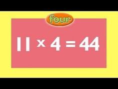 4 Times Tables Multiplication - Children love to sing kids songs for lea. Multiplication Songs, Maths, Times Tables, Science Resources, Child Love, Kids Songs, Study Tips, Teaching Math, Activities For Kids