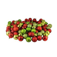 """100ct Red and Kiwi 3-Finish Shatterproof Christmas Ball Ornaments 2.5"""""""" (60mm)"""
