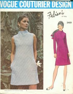 Vogue Couturier Design 2451; ca. 1970; Fabiani - Misses' One-Piece Dress. Semi-fitted, low waisted, A-line dress has bias standing collar. Sleeveless or full length sleeves. Pockets in side seams of side front and back insets. Top-stitch trim. Featured in Vogue International Pattern Book December 1970/January 1971