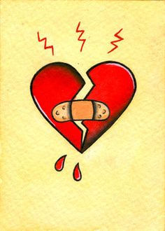 Original Broken Heart Mini Neo-Traditional, Old School Tattoo Flash Card