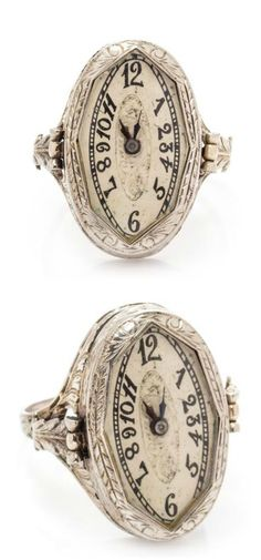 An Art Deco era watch ring!! Such a cool and unusual vintage piece.