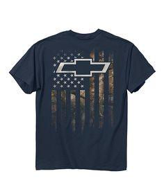 c6c3f465c62 Buck Wear Blue Dusk Camo Chevy Accent Flag Tee