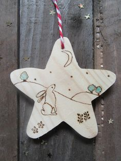 Star gazing hare wooden Christmas tree decoration £3.50 Wooden Christmas Tree Decorations, Christmas Ornaments, Holiday Decor, Wooden Stars, Felt Animals, Stargazing, Gift For Lover, Hare, Unique Gifts