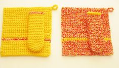 Crochet Hot Pad Set-Yellow and Orange Pot Holder by RoseJasmine