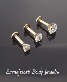 Gold Tone Prong Set Clear Cz 3, 4 Or 5Mm 16G 1/4 Tragus 6Mm Triple Forward Helix