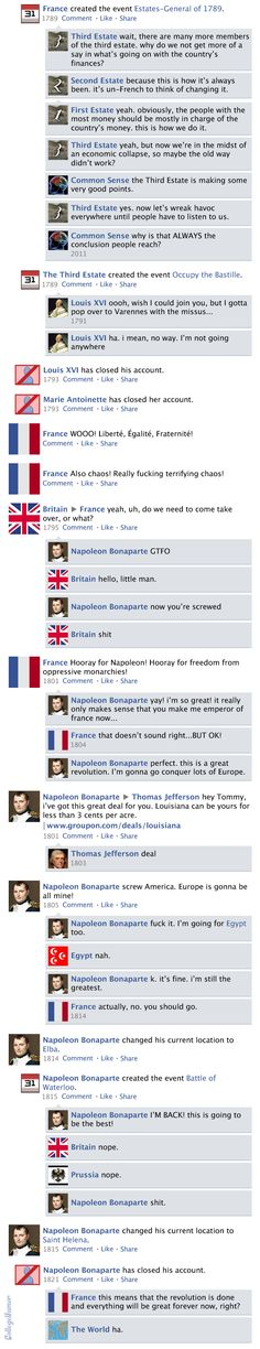 """A funny interpretation of the French Revolution on a Facebook timetable. Originally from """"College Humor""""."""