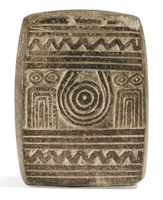 """Mesopotamian Eye Idol Plaque, Euphrates Valley, Late Uruk Period, Late 4th ML BCThis type of carving is known as an 'eye idol', and may have been an offering left at a temple. Eye..."