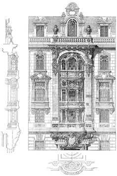 Competition facades in Paris. The architecture of the second ha… Competition facades in Paris. The architecture of the second half of the XIX century. Drawings and sketches. Art Et Architecture, Classic Architecture, Beautiful Architecture, Architecture Details, Pierre Hotel, Facade Design, Architectural Elements, Planer, Google Search