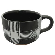 stackable mugs are great for storage and the pattern brings interest to the cabinets without introducing color. This color combination would go great with my dream kitchen and with the LG Black Stainless Steel Kitchen appliances. Black Coffee Mug, Coffee Mugs, Stainless Steel Kitchen Appliances, Stoneware Mugs, Black Stainless Steel, Holiday Fashion, Light Blue, Tableware, Design
