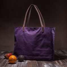 Waxed canvas tote  large tote bag  with leather straps  by Tram21