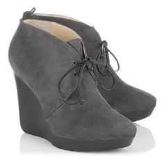 Jimmy Choo - Baxter - 132baxtersue - Smoke Suede Wedge Ankle Boots