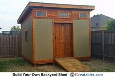 This is my actual shed.  Built it myself with plans from iCreatables.com  I loved the modern design and added the cedar trim to it.