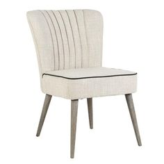 Kia Champagne Upholstered Dining Chair With black Pipping detail and wooden legs