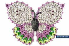 ergahandmade: Crochet Butterfly + Free Crochet Pattern Step By Step Crochet Motifs, Freeform Crochet, Crochet Squares, Thread Crochet, Crochet Crafts, Crochet Stitches, Crochet Projects, Knit Crochet, Crochet Appliques